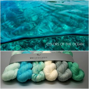 """WOLLEXCLUSIV KIT """"MKAL SHAWLOGRAPHY"""" ∣ THE COLORS OF THE OCEAN"""